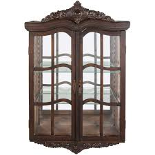 Victorian Antique Curio Cabinet with Hand Carved Wood Designs For
