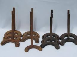 Lot New Old Stock Walnut Wood Plate Racks Collector039s