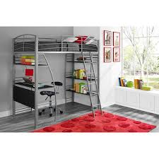 dorel dhp studio twin metal loft bed with desk and shelves silver