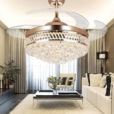 Retractable Blade Ceiling Fan With Light by Colorled Modern Crystal Remote Control Transparent Acrylic Blade