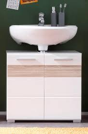 badezimmer waschbecken unterschrank hochglanz weiß eiche bad