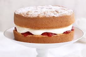 sponge cake with cheats strawberry jam and cream 1