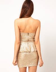 tfnc london sequin dress with peplums in metallic lyst