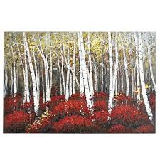 Red Birch Trees Art