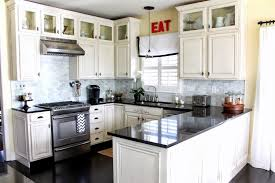 KitchenInspiring Small Kitchen With Modern White Cabinets And Contrastive Black Countertop