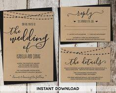 Rustic Elegant Wedding Invitation Organic Handwritten