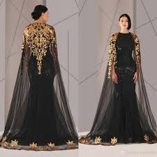 prom dresses black arabic muslim evening tulle cloak gold and