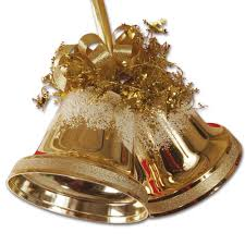 Gold Twin Christmas Bells 17cm