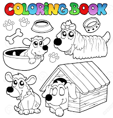 Coloring Book With Cute Dogs Stock Vector