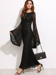 black oversized bell sleeve floral lace dress emmacloth women fast