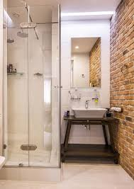 Bathroom: Small Bathroom Shower With Brick Wall Decor - 19 Masculine ... Bathroom Chair Rail Ideas Creative Decoration Likable Tile Small Color Pictures Trainggreen Best Wall Inspiring Decorative Aricherlife Home Decor Pating Colors Beautiful Fresh 100 Decorating Design Ipirations For Bathrooms Made Relaxing Bathroom Ideas Small Decorating On A Budget Storage Apartment Therapy Stencils The Secret To Remodeling Your Budget 37 Fantastic Ghomedecor