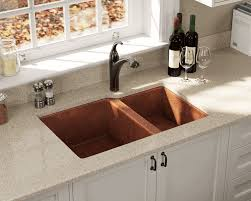 33x22 Copper Kitchen Sink by 901 Double Offset Bowl Copper Sink