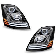 100 Semi Truck Led Lights VNL LED Headlight Complete Set Of Chrome