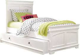 Oberon White 4 Pc Twin Panel Bed with Trundle Trundle Beds White