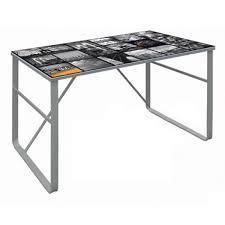 bureau en verre table de bureau en verre coloris gris dim 120 x 60 x 75 cm