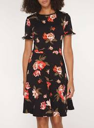 tall red and black floral print dress dresses clothing
