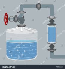 Water Tank Pipes Pictures by Infographics Scheme Liquid Water Tank Pipes ベクター画像素材