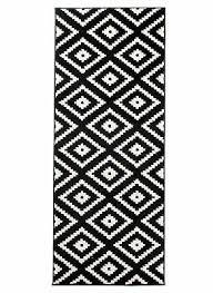 läufer teppich schwarz weiß modern geometrisch muster wohnzimmer esszimmer
