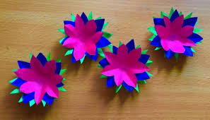 Three Color Paper Flowers Art And Craft