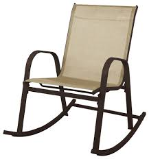 Patio Rocking Chair In Dark Brown With Brown Textilene Fabric
