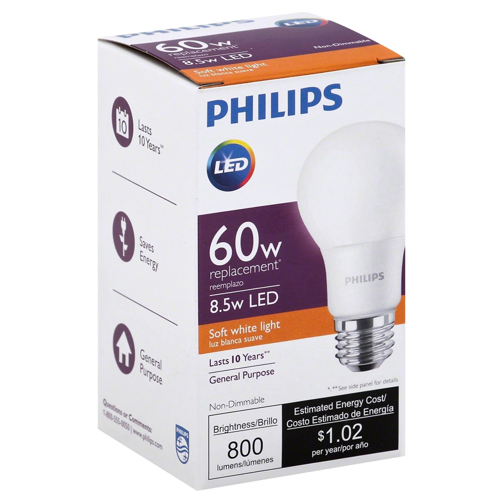 Philips Equivalent LED Light Bulbs - 60W, Soft White