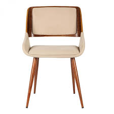 Armen Living Barrister Chair by Living Panda Mid Century Dining Chair In Walnut Wood And Brown Fabric