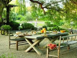 Beauteous Garden Decoration With Adorable Outdoor Dining Ideas Plus Wooden Table Again X Legs Shape
