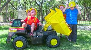100 Kids Dump Trucks Tonka Ride On Mighty Truck For Unboxing Review And Riding