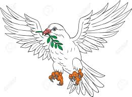 Drawing sketch style illustration of a dove flying with olive leaf in its beak looking to