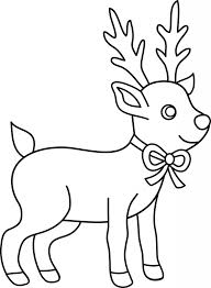 Easy Christmas Drawing Deer And Santa Coloring Pages For Kids