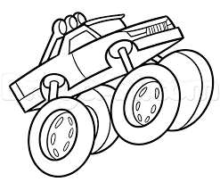 Drawing A Monster Truck Easy, Step By Step, Trucks, Transportation ...