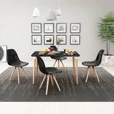 5 teilige essgruppe tisch stühle schwarz