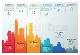 Modern Infographic Option Banner With Colorful City Bar Chart Vector Can Be Used For Workflow Layout Diagram Web Design Template