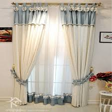 beautiful country living room beige and light blue plaid curtains