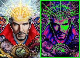 Marvels Doctor Strange IMAX Exclusive Blacklight Movie Posters By Randal Roberts