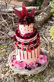 Purple And Red Autumn Wedding Cake With Edible Flowers Berries