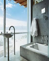 wohnideen fuer badezimmer modern beton optik grau wand