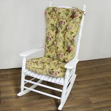 100 Jumbo Rocking Chair White Wooden With Cream Floral Fabric Seat And Back On