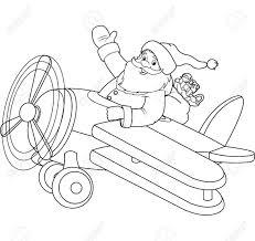 Santa Flying His Christmas Plane Coloring Page Royalty Free Cliparts