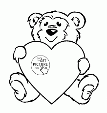 Cute Teddy Heart Coloring Page For Kids Girls Pages Printables Mothers Day Color Free