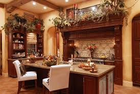 Latest Rustic Italian Kitchen Design Trends Luxurious Tile Backsplash And Island With Marble Countertop For