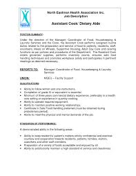 Sample Resume For Dietary Aide Samples