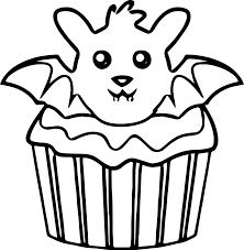 Halloween Bat Cupcake Coloring Page