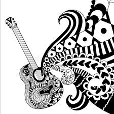 Download Doodles Design Of Guitar For Coloring Book Adult Poster Banner And So