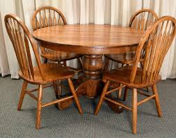 100 Oak Pedestal Table And Chairs Round 4 Arrow Back