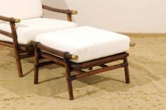 Ficks Reed Lounge Chair by John Wisner Superb Pair Of Campaign Lounge Chairs And Ottomans