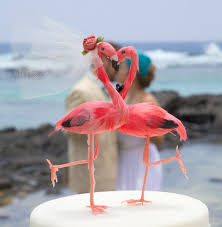 Pink Flamingo Cake Topper Tropical Bride And Groom Love Bird Wedding