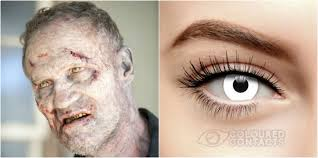 White Mesh Halloween Contacts by Walking Dead Contact Lenses Find Hordes Of Zombie Dead Eye Lenses