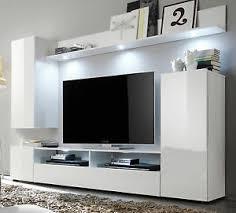 details zu wohnwand weiß hochglanz fernsehschrank wohnzimmer tv hifi möbel medienwand dos