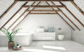 100 Interior Roof Design Modern Bathroom With White Attic Walls Wooden Framework And Stock